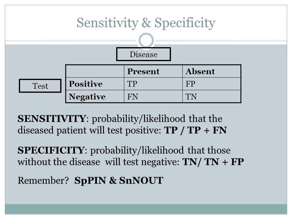 Sensitivity & Specificity PresentAbsent PositiveTPFP NegativeFNTN Disease Test SENSITIVITY: probability/likelihood that the diseased patient will test