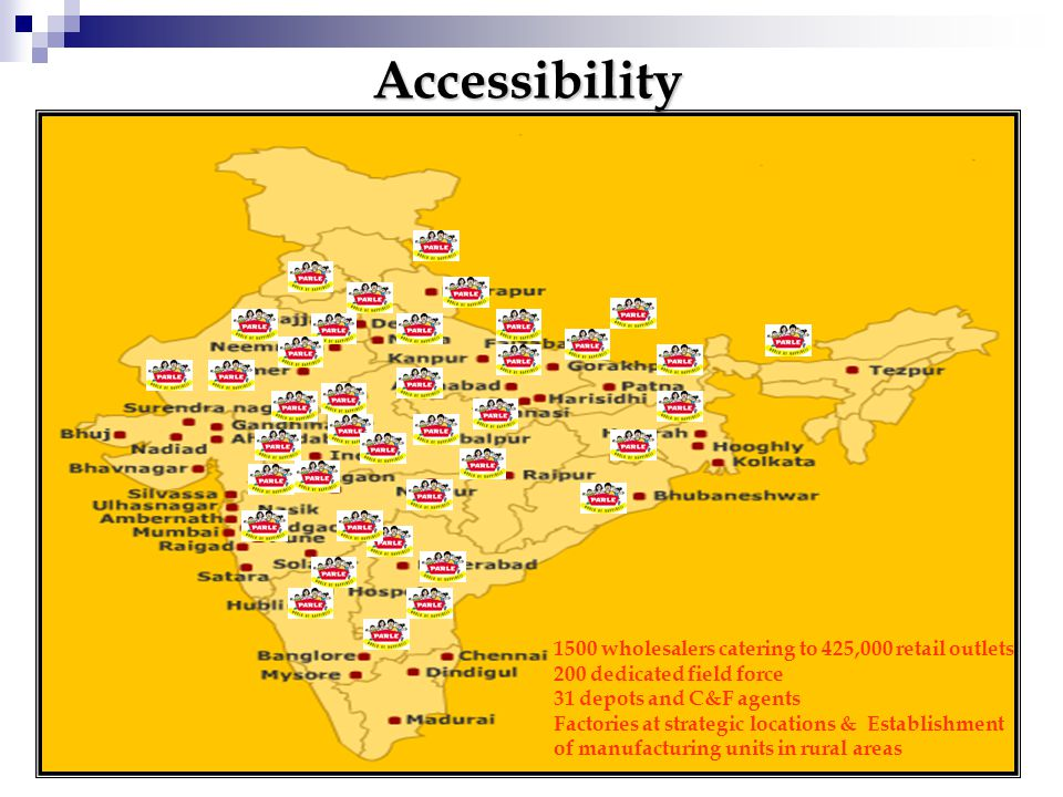 Accessibility 1500 wholesalers catering to 425,000 retail outlets 200 dedicated field force 31 depots and C&F agents Factories at strategic locations & Establishment of manufacturing units in rural areas