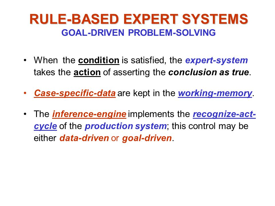 When the condition is satisfied, the expert-system takes the action of asserting the conclusion as true.
