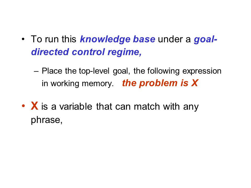 To run this knowledge base under a goal- directed control regime, –Place the top-level goal, the following expression in working memory.