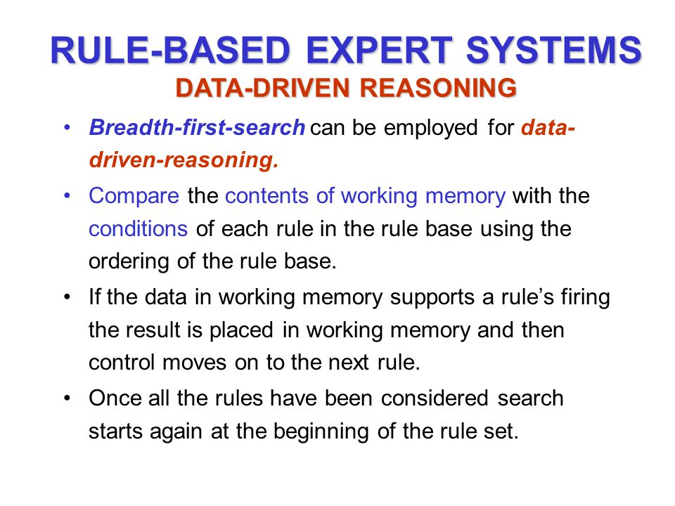 Breadth-first-search can be employed for data- driven-reasoning.