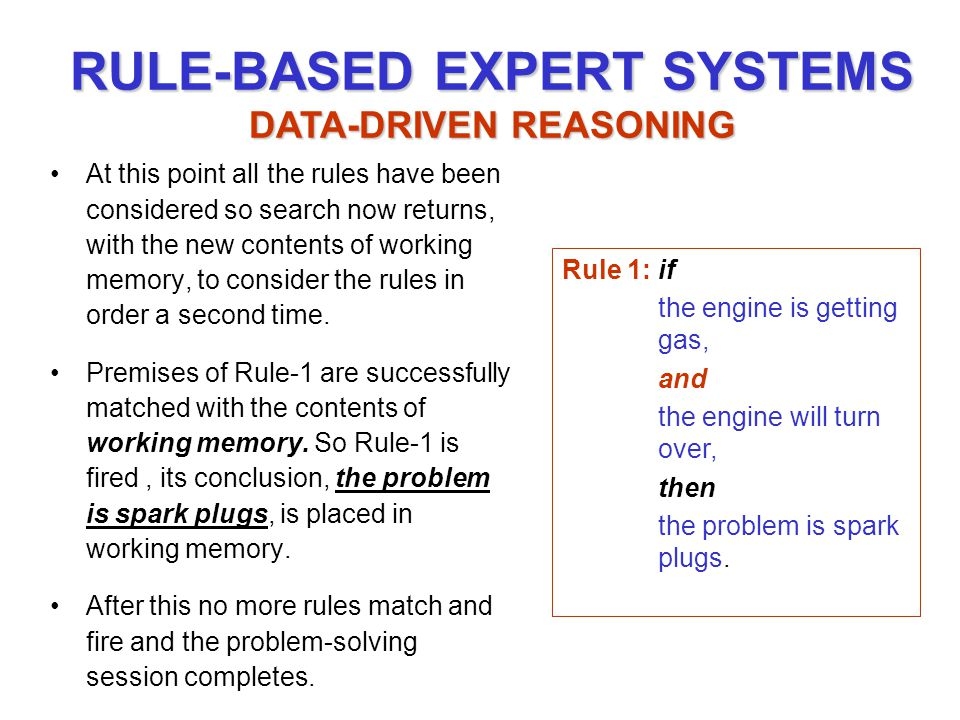 At this point all the rules have been considered so search now returns, with the new contents of working memory, to consider the rules in order a second time.