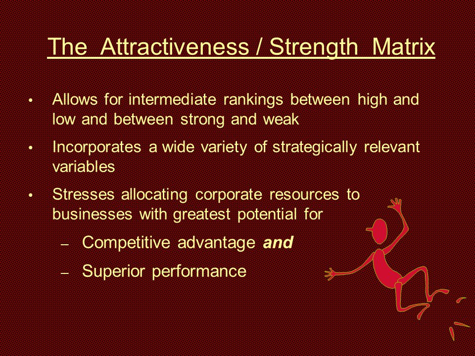 The Attractiveness / Strength Matrix Allows for intermediate rankings between high and low and between strong and weak Incorporates a wide variety of