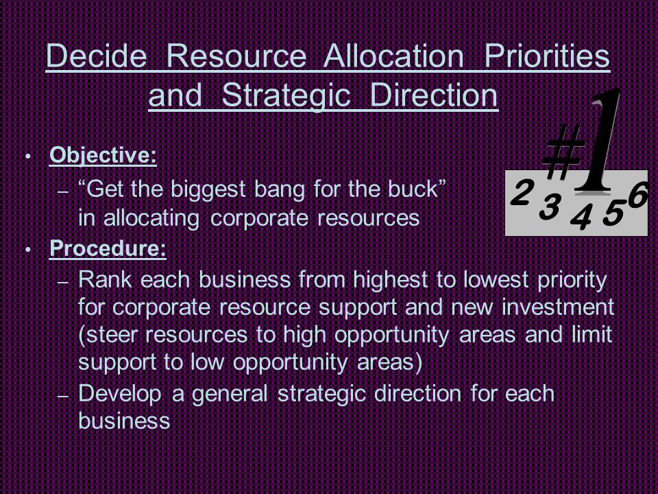 """Decide Resource Allocation Priorities and Strategic Direction Objective: – """"Get the biggest bang for the buck"""" in allocating corporate resources Proce"""