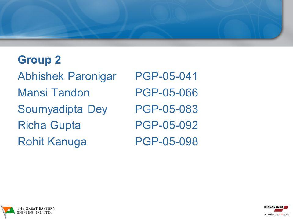 Group 2 Abhishek Paronigar PGP-05-041 Mansi TandonPGP-05-066 Soumyadipta DeyPGP-05-083 Richa GuptaPGP-05-092 Rohit KanugaPGP-05-098