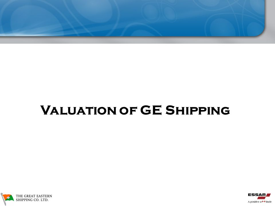 GE Shipping De-merger  Valuation of GE Shipping