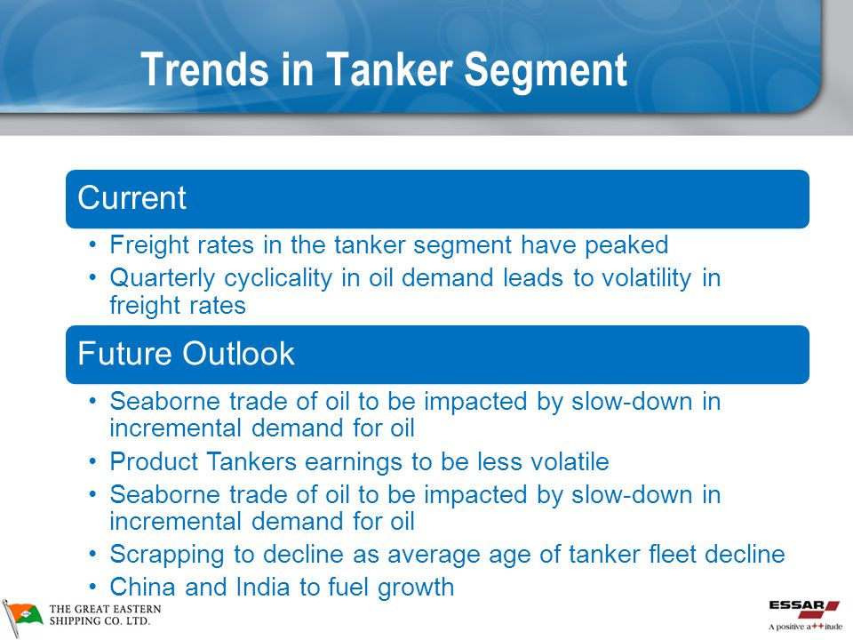 Trends in Tanker Segment Current Freight rates in the tanker segment have peaked Quarterly cyclicality in oil demand leads to volatility in freight rates Future Outlook Seaborne trade of oil to be impacted by slow-down in incremental demand for oil Product Tankers earnings to be less volatile Seaborne trade of oil to be impacted by slow-down in incremental demand for oil Scrapping to decline as average age of tanker fleet decline China and India to fuel growth