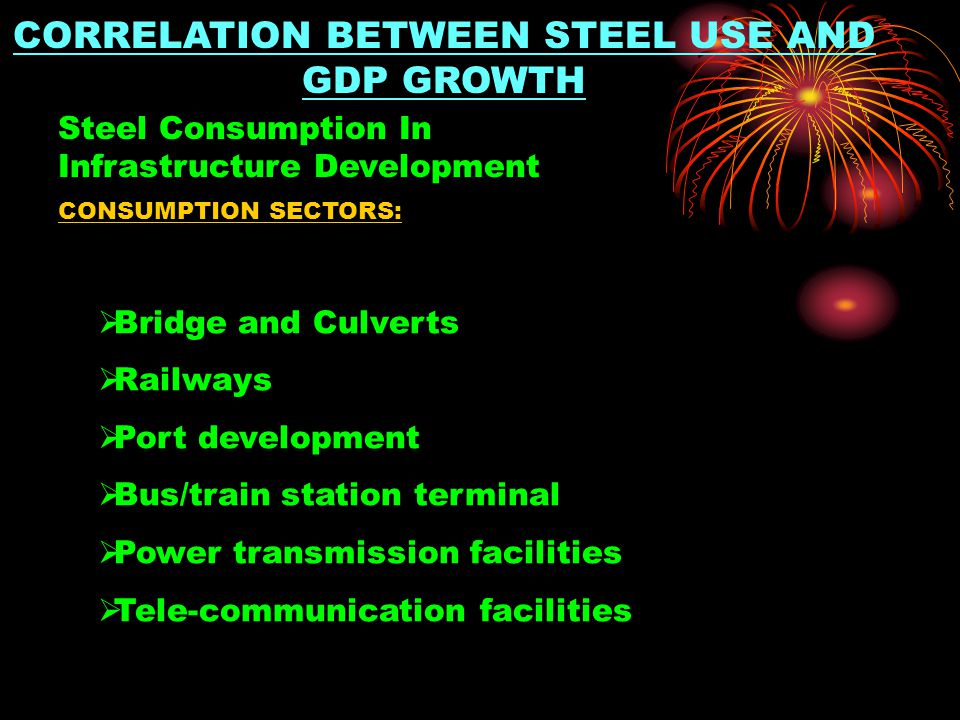 CORRELATION BETWEEN STEEL USE AND GDP GROWTH CONSUMPTION SECTORS:  Bridge and Culverts  Railways  Port development  Bus/train station terminal  Power transmission facilities  Tele-communication facilities Steel Consumption In Infrastructure Development