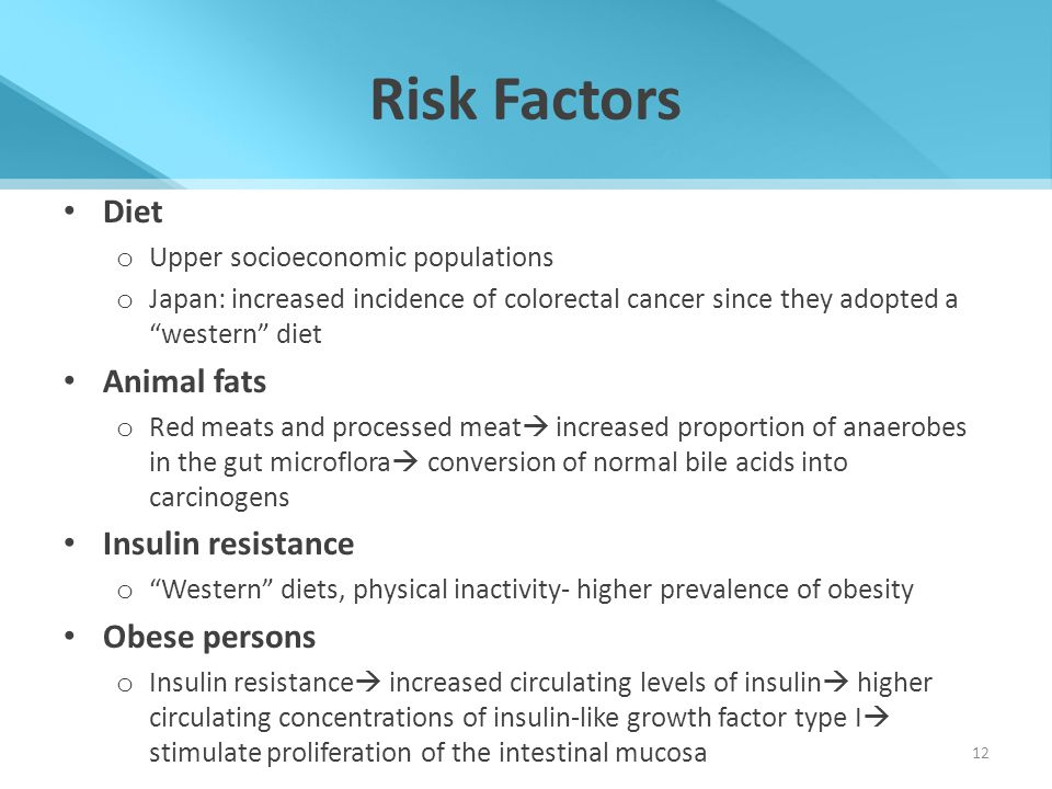 """Risk Factors Diet o Upper socioeconomic populations o Japan: increased incidence of colorectal cancer since they adopted a """"western"""" diet Animal fats"""