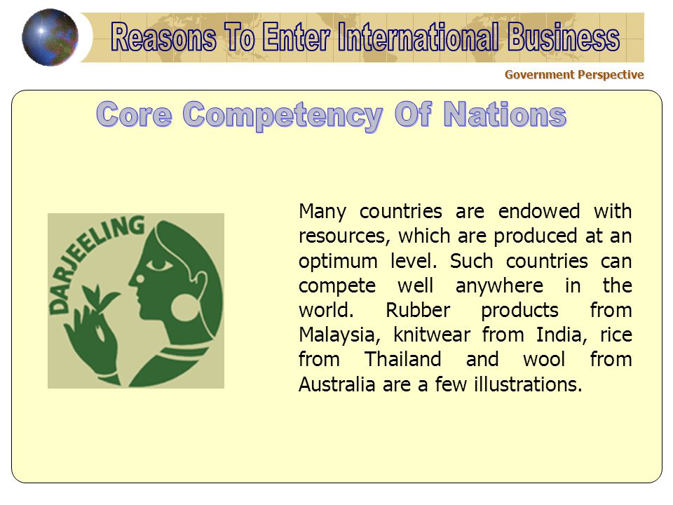 Government Perspective Many countries are endowed with resources, which are produced at an optimum level.