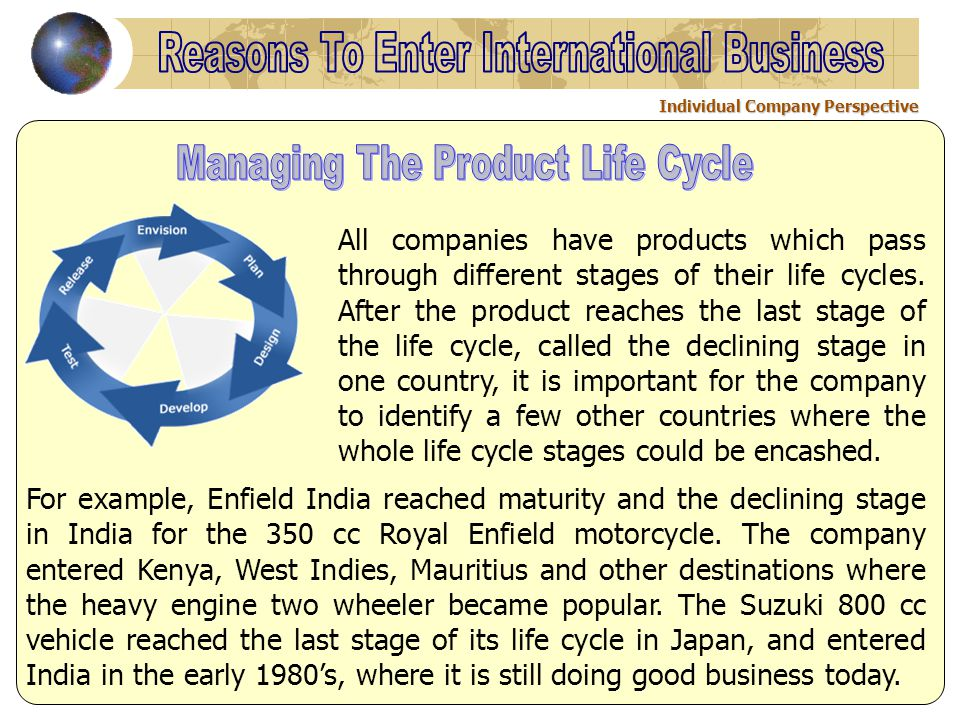 All companies have products which pass through different stages of their life cycles.
