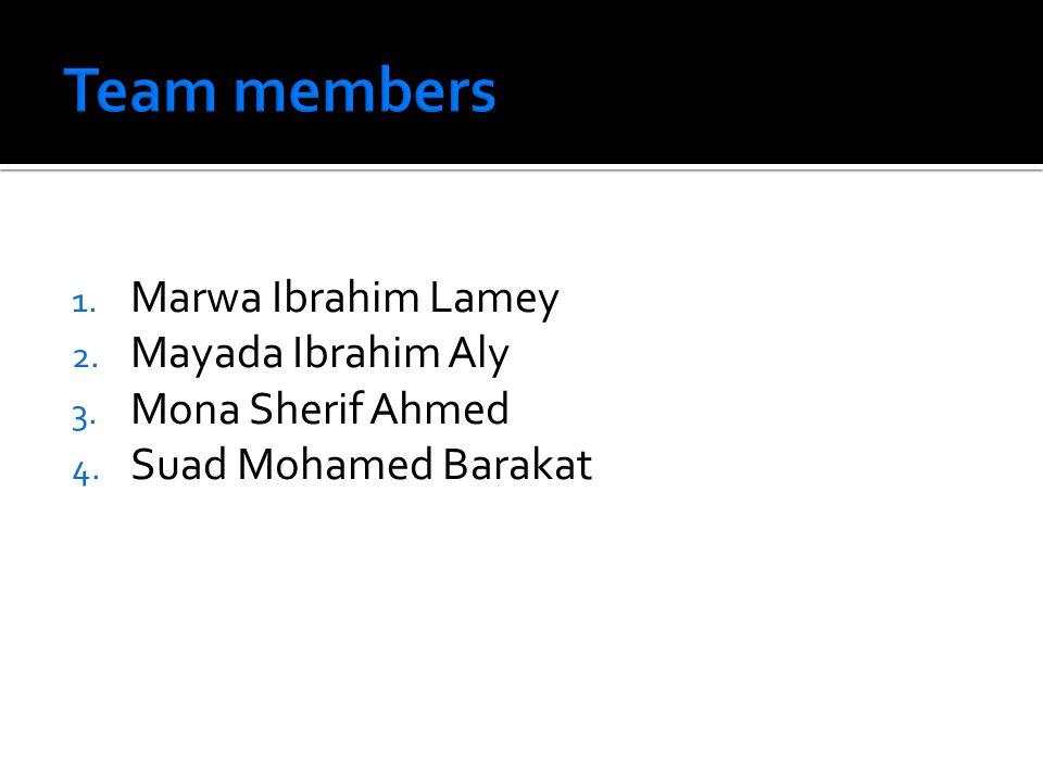 1. Marwa Ibrahim Lamey 2. Mayada Ibrahim Aly 3. Mona Sherif Ahmed 4. Suad Mohamed Barakat