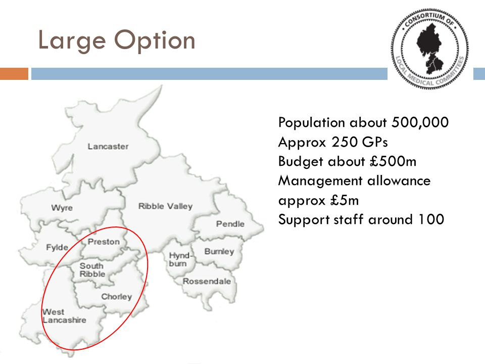 Large Option Population about 500,000 Approx 250 GPs Budget about £500m Management allowance approx £5m Support staff around 100