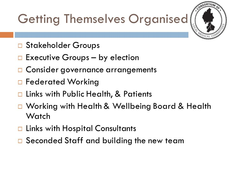 Getting Themselves Organised SStakeholder Groups EExecutive Groups – by election CConsider governance arrangements FFederated Working LLinks with Public Health, & Patients WWorking with Health & Wellbeing Board & Health Watch LLinks with Hospital Consultants SSeconded Staff and building the new team