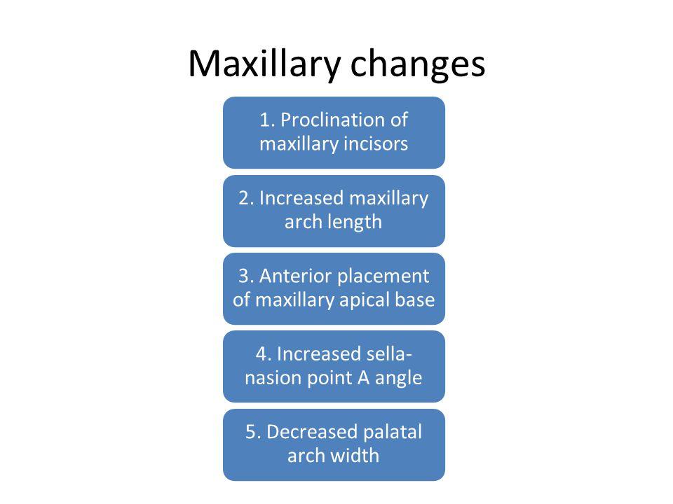 Maxillary changes 1. Proclination of maxillary incisors 2. Increased maxillary arch length 3. Anterior placement of maxillary apical base 4. Increased