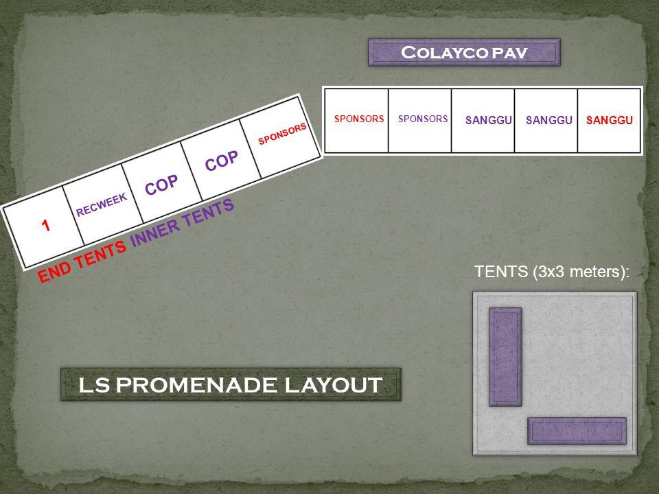 Colayco pav 1 RECWEEK COP SPONSORS SANGGU TENTS (3x3 meters): INNER TENTS END TENTS LS PROMENADE LAYOUT