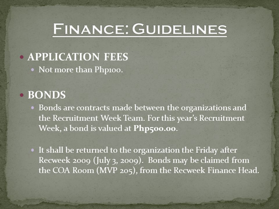APPLICATION FEES Not more than Php100.
