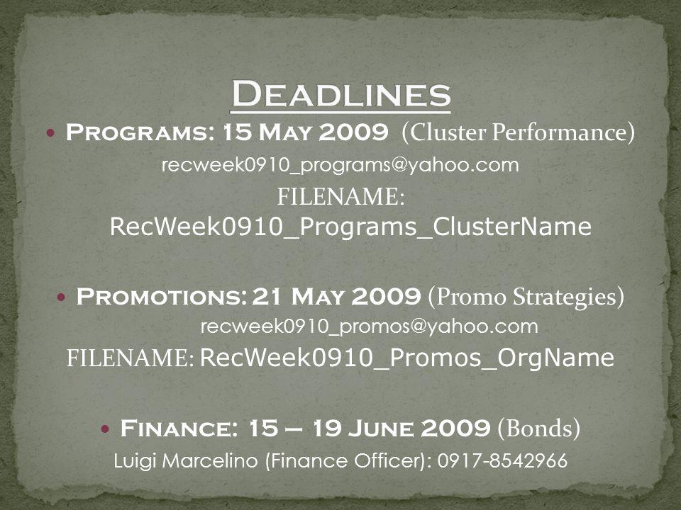 Programs: 15 May 2009 (Cluster Performance) recweek0910_programs@yahoo.com FILENAME: RecWeek0910_Programs_ClusterName Promotions: 21 May 2009 (Promo S