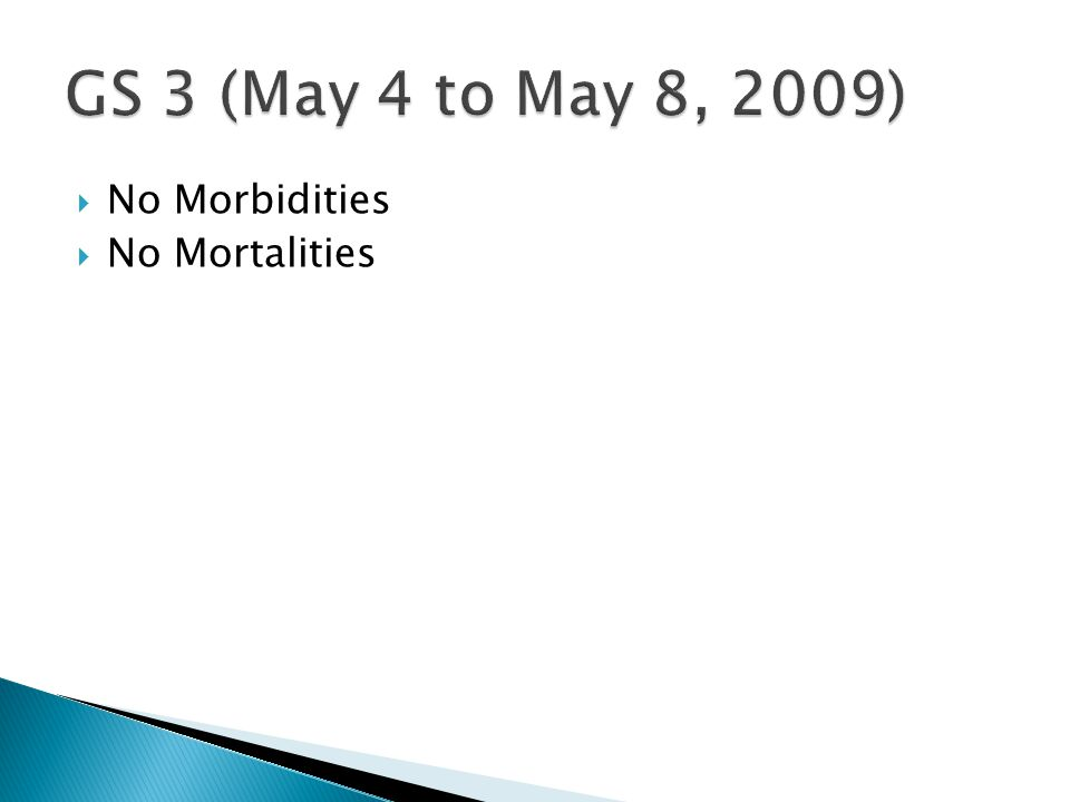  No Morbidities  No Mortalities