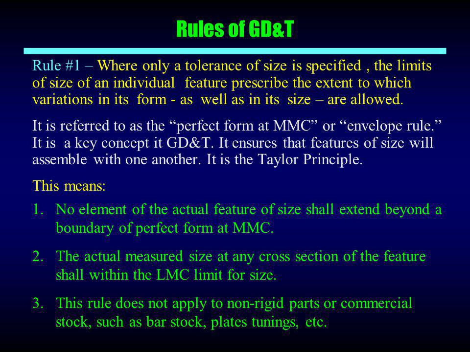 Rules of GD&T Rule #1 – Where only a tolerance of size is specified, the limits of size of an individual feature prescribe the extent to which variati