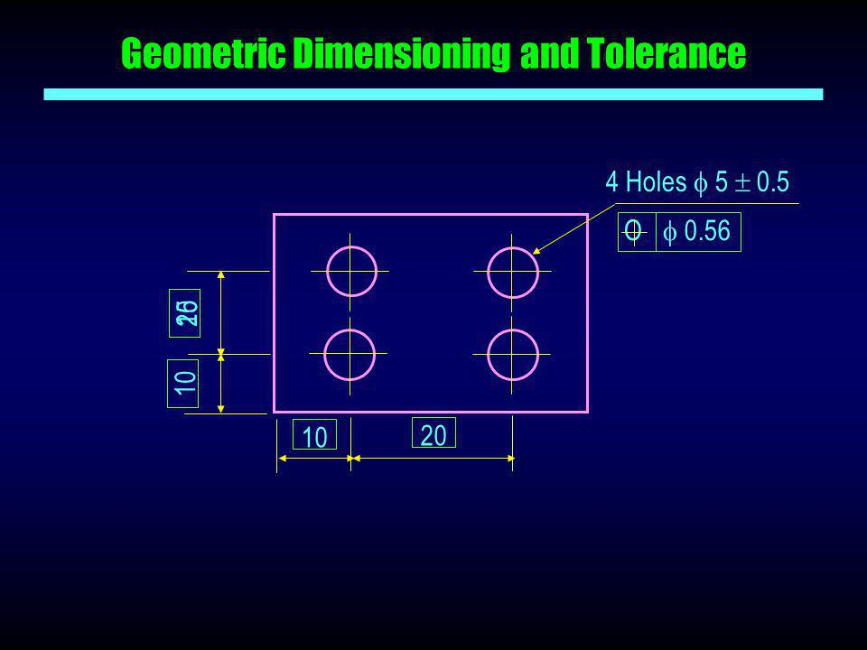 Geometric Dimensioning and Tolerance 20 4 Holes  5  0.5 O  0.56 10 15 10