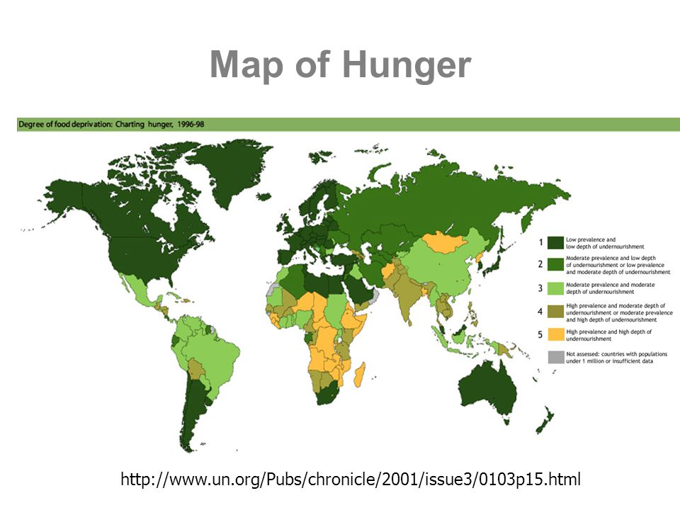 Map of Hunger http://www.un.org/Pubs/chronicle/2001/issue3/0103p15.html