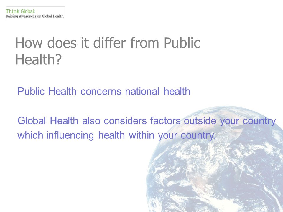 How does it differ from Public Health.