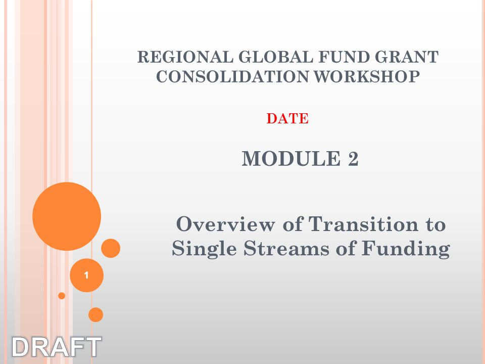 Overview of Transition to Single Streams of Funding REGIONAL GLOBAL FUND GRANT CONSOLIDATION WORKSHOP DATE MODULE 2 1