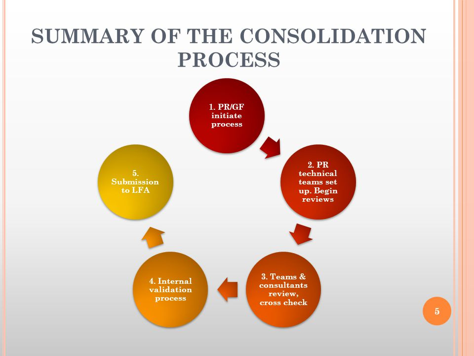 SUMMARY OF THE CONSOLIDATION PROCESS 1. PR/GF initiate process 2.