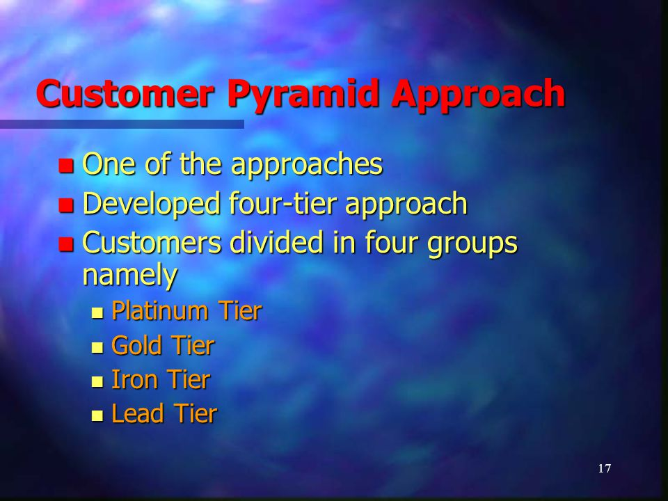 17 Customer Pyramid Approach One of the approaches One of the approaches Developed four-tier approach Developed four-tier approach Customers divided i