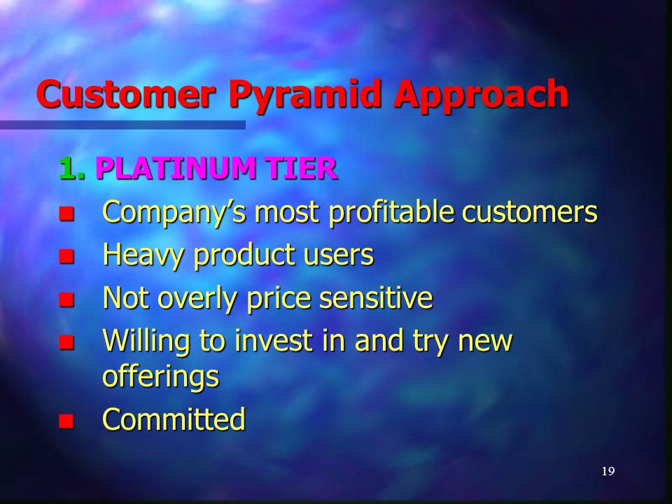 19 Customer Pyramid Approach 1. PLATINUM TIER Company's most profitable customers Company's most profitable customers Heavy product users Heavy produc