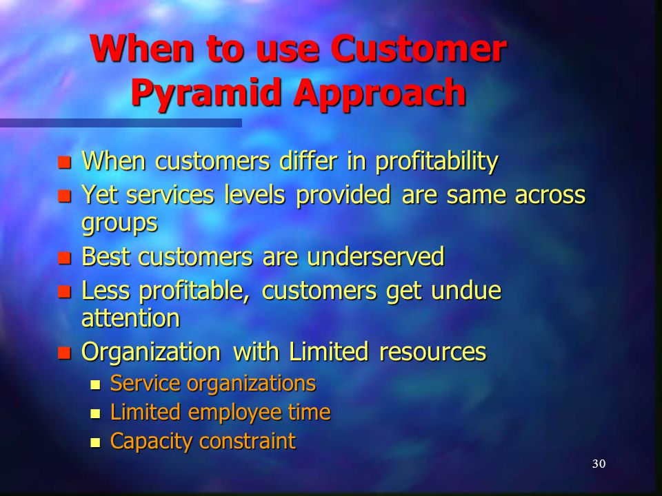 31 When to use Customer Pyramid Approach Customers require different service levels Customers require different service levels Customer willing to pay for different service levels Customer willing to pay for different service levels When customers can be separated from each other When customers can be separated from each other Customers sensitive if they receive different treatment Customers sensitive if they receive different treatment Selective access of customers Selective access of customers