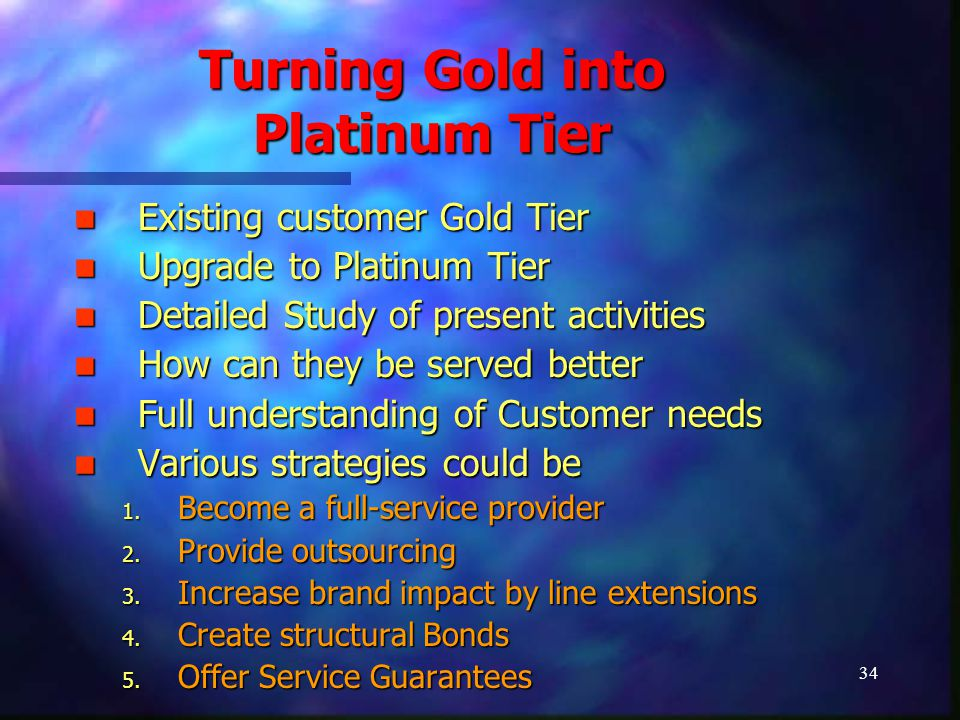 34 Turning Gold into Platinum Tier Existing customer Gold Tier Existing customer Gold Tier Upgrade to Platinum Tier Upgrade to Platinum Tier Detailed