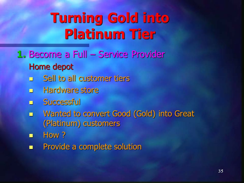 36 Turning Gold into Platinum Tier Not only hardware, but added services Not only hardware, but added services Renovation Renovation Whitewash Whitewash Provide Contractors, Masons Provide Contractors, Masons Other related Services Other related Services Found Gold Customers converting into Platinum Customers as services were highly profitable business Found Gold Customers converting into Platinum Customers as services were highly profitable business