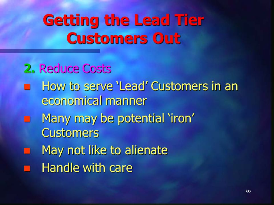 59 Getting the Lead Tier Customers Out 2. Reduce Costs How to serve 'Lead' Customers in an economical manner How to serve 'Lead' Customers in an econo