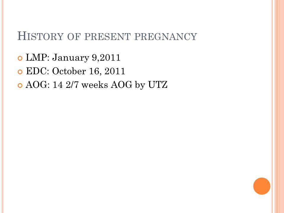 DIAGNOSIS Admitting diagnosis G3P2 (2002) Molar pregnancy 14 2/7 weeks AOG by UTZ Post-op diagnosis G3P2 (2012) Molar pregnancy 14 2/7 weeks AOG by UTZ