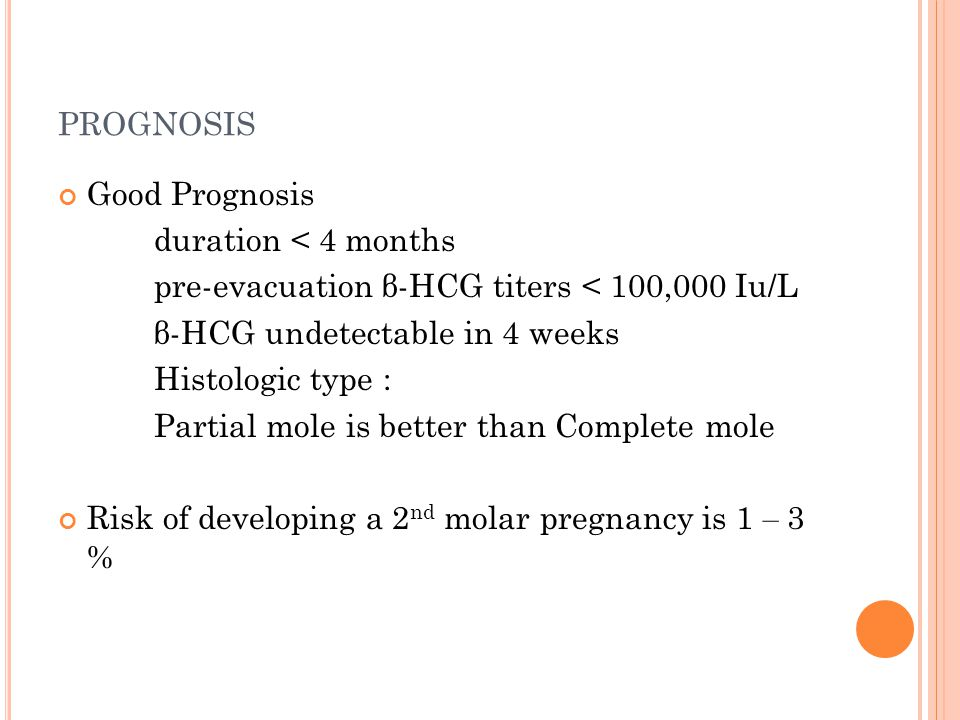 PROGNOSIS Good Prognosis duration < 4 months pre-evacuation β-HCG titers < 100,000 Iu/L β-HCG undetectable in 4 weeks Histologic type : Partial mole i