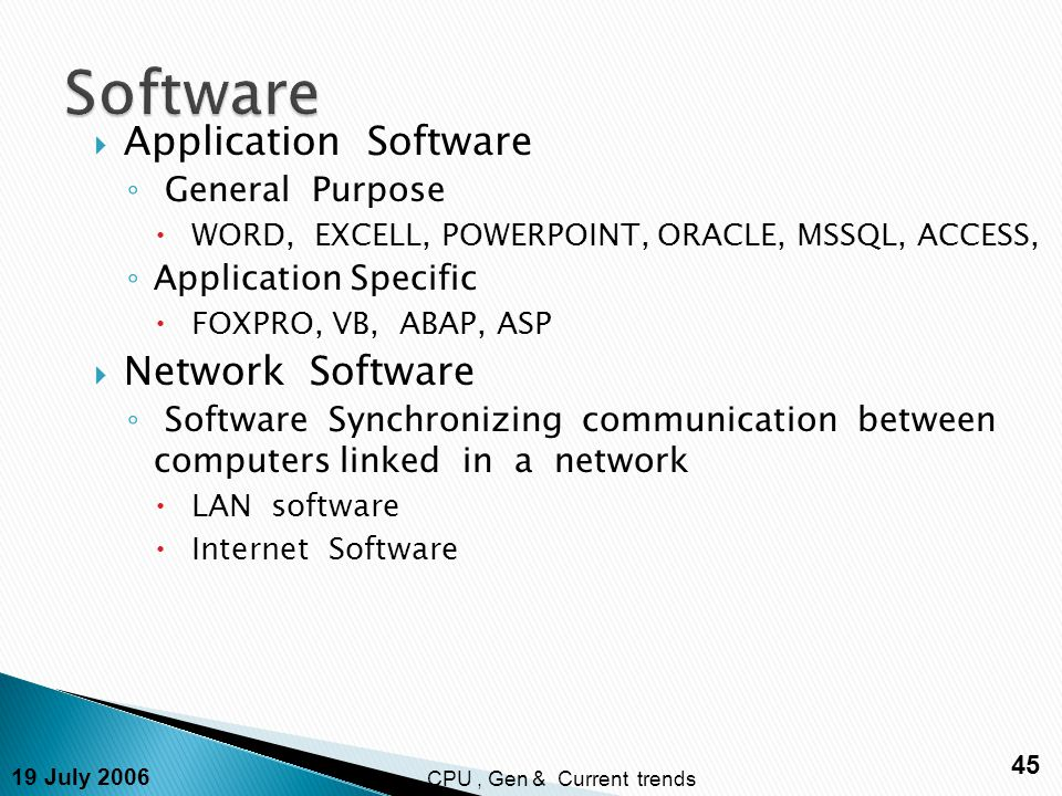 19 July 2006 45 CPU, Gen & Current trends  Application Software ◦ General Purpose  WORD, EXCELL, POWERPOINT, ORACLE, MSSQL, ACCESS, ◦ Application Specific  FOXPRO, VB, ABAP, ASP  Network Software ◦ Software Synchronizing communication between computers linked in a network  LAN software  Internet Software
