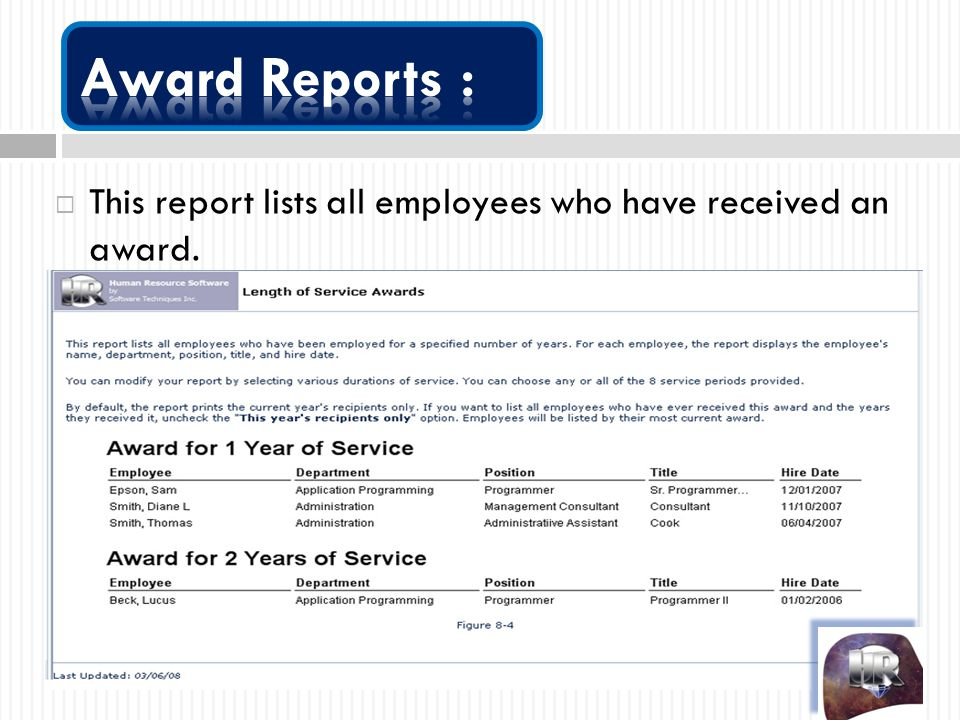  This report lists all employees who have received an award.