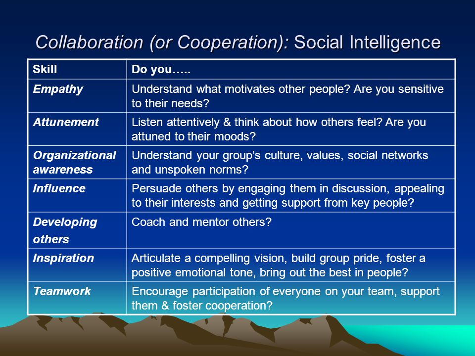 Collaboration (or Cooperation): Social Intelligence SkillDo you…..