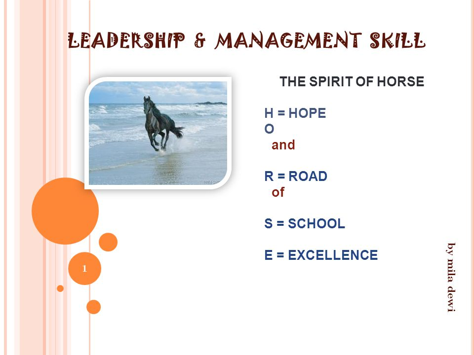 LEADERSHIP & MANAGEMENT SKILL THE SPIRIT OF HORSE H = HOPE O and R = ROAD of S = SCHOOL E = EXCELLENCE 1 by mila dewi
