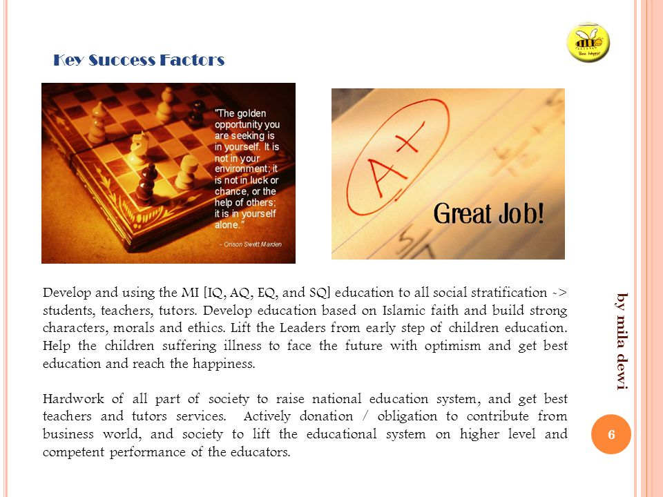 by mila dewi 6 Key Success Factors Develop and using the MI [IQ, AQ, EQ, and SQ] education to all social stratification -> students, teachers, tutors.
