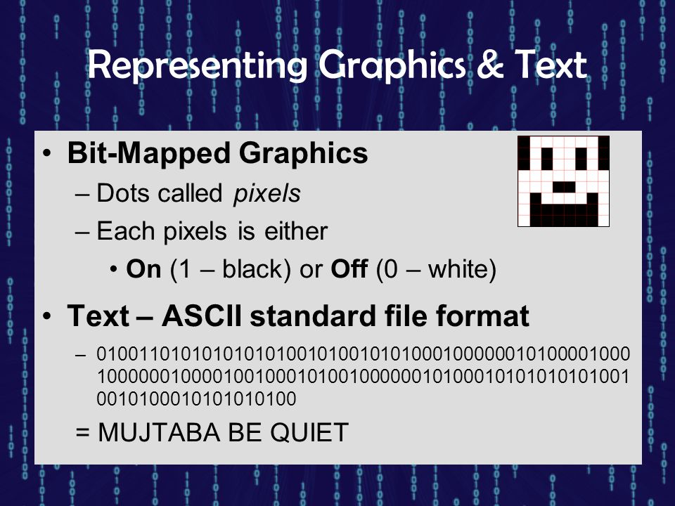 Representing Graphics & Text Bit-Mapped Graphics –Dots called pixels –Each pixels is either On (1 – black) or Off (0 – white) Text – ASCII standard fi