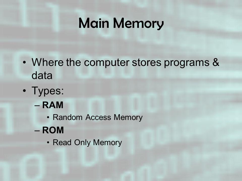 Main Memory Where the computer stores programs & data Types: –RAM Random Access Memory –ROM Read Only Memory