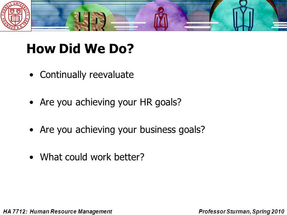 HA 7712: Human Resource ManagementProfessor Sturman, Spring 2010 How Did We Do.