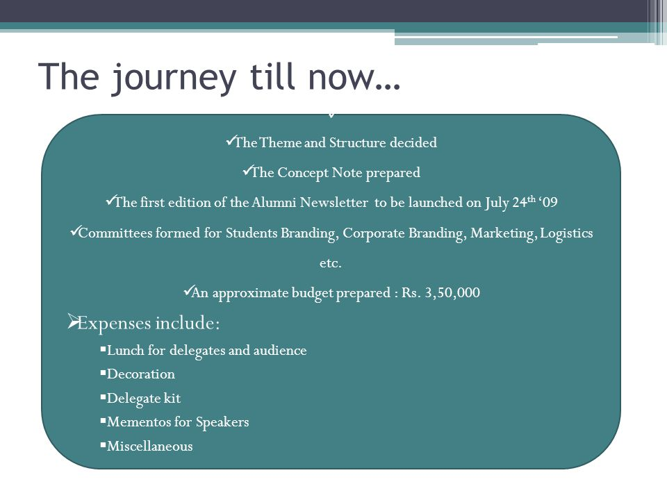 The journey till now… The Theme and Structure decided The Concept Note prepared The first edition of the Alumni Newsletter to be launched on July 24 th '09 Committees formed for Students Branding, Corporate Branding, Marketing, Logistics etc.