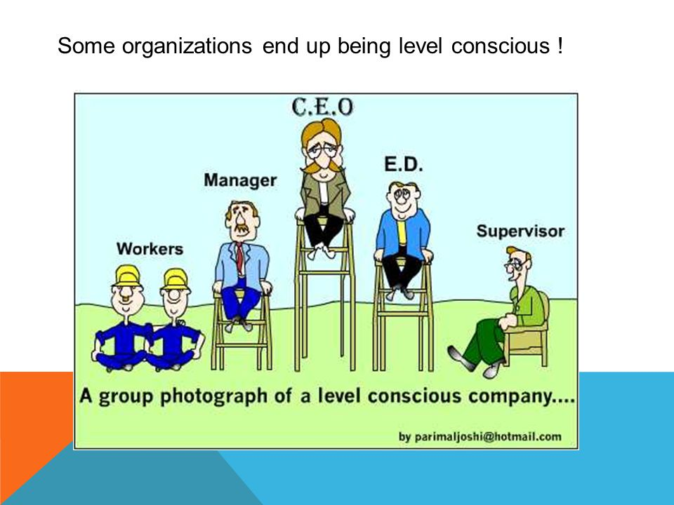 Some organizations end up being level conscious !