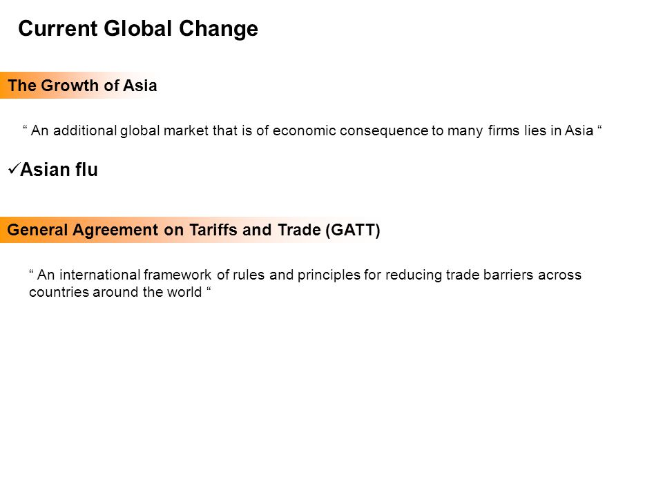 Managing Human Resources Globally Chapter 15 Current Global Change The Growth of Asia An additional global market that is of economic consequence to many firms lies in Asia Asian flu General Agreement on Tariffs and Trade (GATT) An international framework of rules and principles for reducing trade barriers across countries around the world
