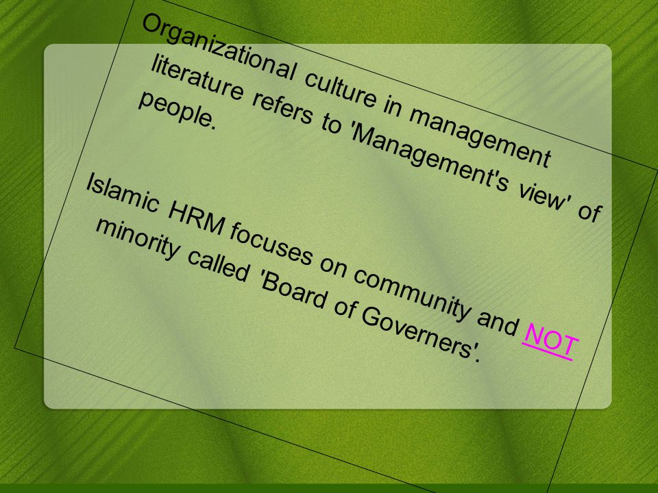 Organizational culture in management literature refers to Management s view of people.