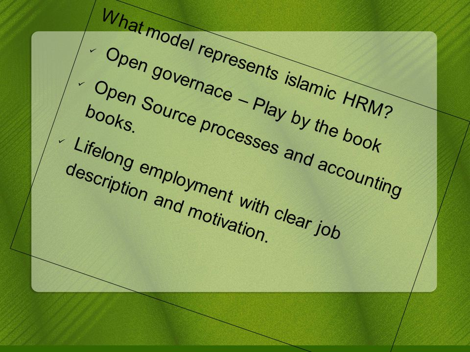 What model represents islamic HRM.